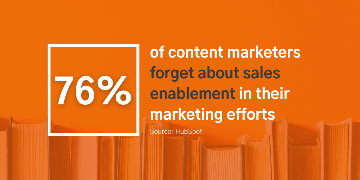 76% of content marketers forget about sales enablement